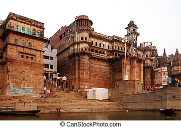 Varanasi - Type from the river Ganges on coastal buildings,...