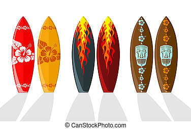 Set of vector surf boards with Hawaiian patterns and flames
