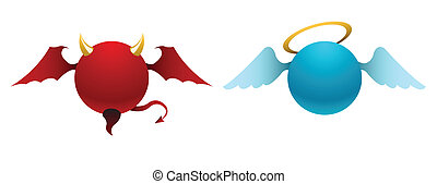 Vector devil and angel icons - Vector simple devil and angel...