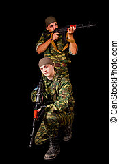 Two soldiers with weapon