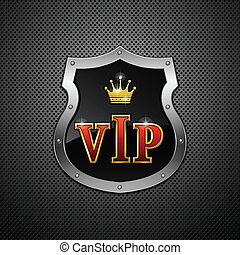 Shield Vector - Shield on a metallic background Vip Vector...