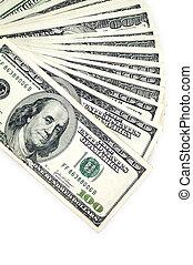 one hundred dollars isolated on white background