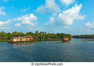 Houseboat on Kerala backwaters. Ker