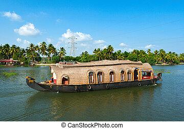 Houseboat on Kerala backwaters, India - Houseboat on Kerala...
