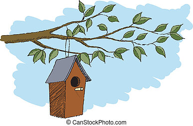 BirdHouse - Pen and ink style illustration of a bird house...