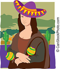 Mona Lisa Sombrero - The Mona Lisa dressed as a Mariachi