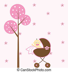 Baby Girl in Stroller - Cute pink baby girl in stroller