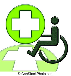 Handicapped Person - Handicapped person in wheelchair green...