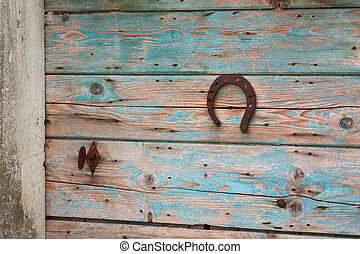 Lucky horseshoe - lucky horseshoe nailed to an old wooden...