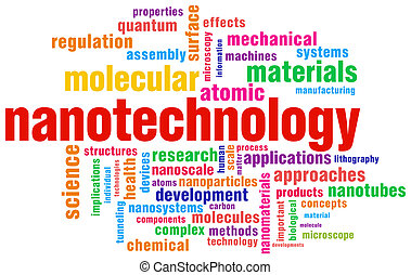 nanotechnology relevant word tag cloud isolated over white...