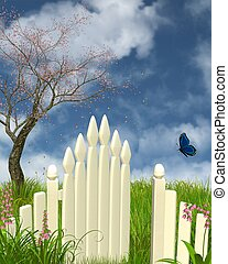 Spring Garden Gate - Painted white gate in a spring garden...