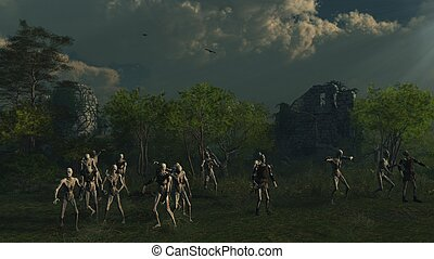 Zombies Prowling Medieval Castle - Crowd of undead zombies...