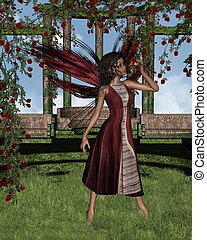 Dark Rose Fairy under Pergola