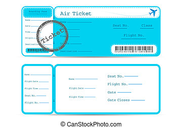 Flight Ticket - illustration of front and back part of...