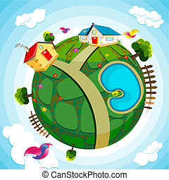 Green Earth - illustration of house and river on green earth