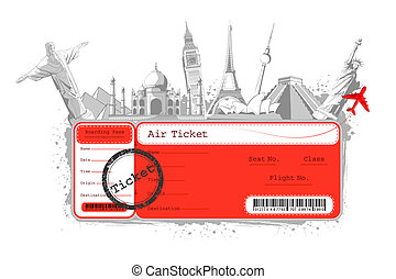 Tour around the World - illustration of flight ticket with...