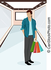 Urban Guy sitting on Sale - illustration of urban guy...