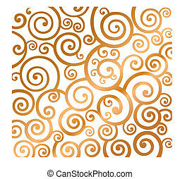 Holiday background with gold curly pattern