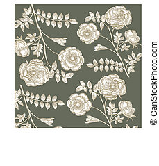 Classical wall-paper with a flower pattern Fragment