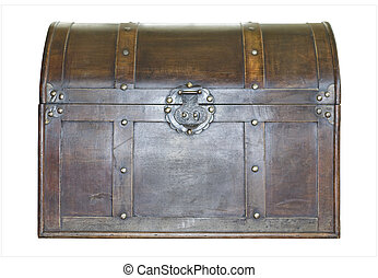 Treasure Chest - Antique leather treasure chest with brass...