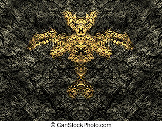 Golden statue of the demon in the stone cave