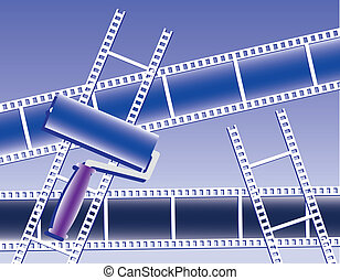 films and paint roller - abstract films and paint roller in...