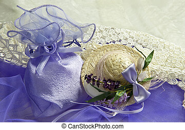 two weeding Favors  for weddings  on purple fabric