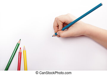 Child hand draws a blue pencil. White-gray background Above...