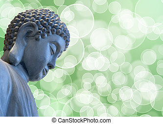Bronze Zen Buddha Statue Meditating with Blurred Background
