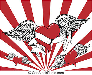 winged heart background7 - winged heart background in vector...
