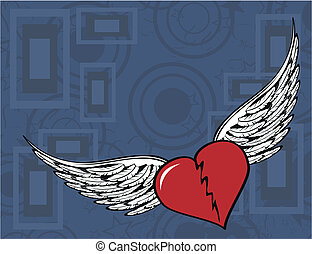 winged heart background1 - winged heart background in vector...
