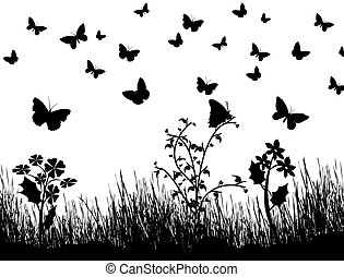 butterflies, flowers and grass background
