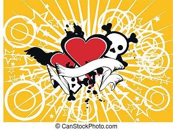 heart skull background03