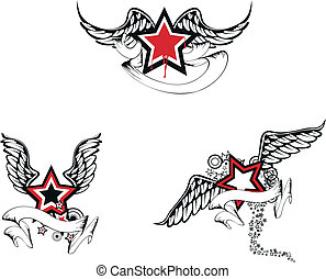 winged star pack02 - winged star pack in vector format