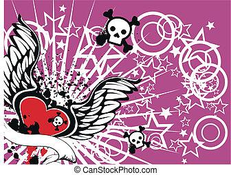 skull heart winged in vector format