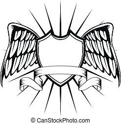 winged crest4 - winged crest in vector format
