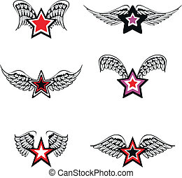 winged star set1 - winged star set in vector format