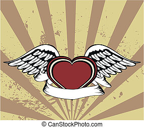 winged heart background9 - winged heart background in vector...