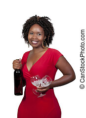 Woman with Wine - A beautiful African American woman holding...