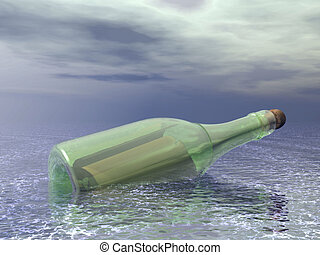 message in a bottle - 3d rendered bottle in an ocean