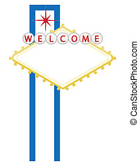 Casino or city welcome sign isolated over a white background
