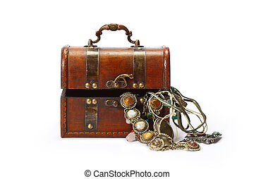 Box with jewelry - jewelry casket on white background