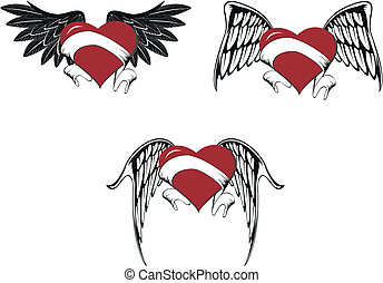winged heart set03 - winged heart set in vector format