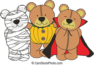 hallooween cartoon teddy in vector format