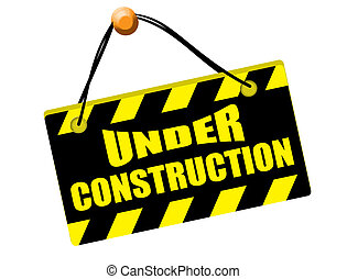 Under construction sign isolated on white background, vector...