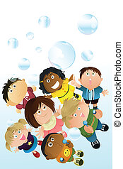 Children playing bubbles - A vector illustration of children...