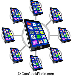 Network of Smart Phones with Apps for Communicating