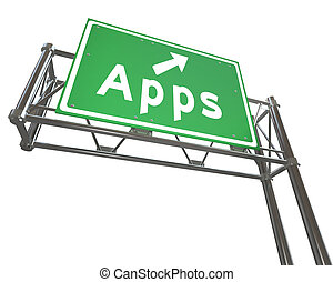 Apps Word on Freeway Sign - Application Store - A green...