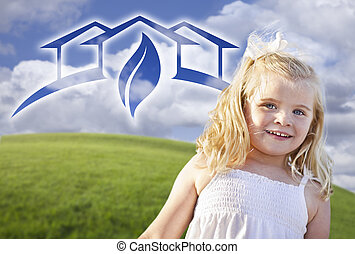 Blue Eyed Girl Playing Outside with Ghosted Green House...