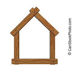 wooden house symbol - 3d illustration